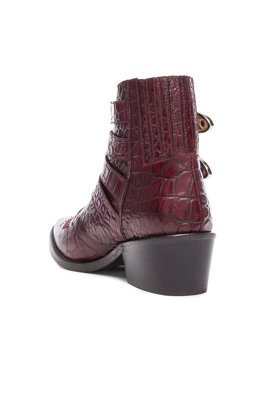 Image 3 of TOGA PULLA Embossed Leather Buckle Booties in Bordeaux