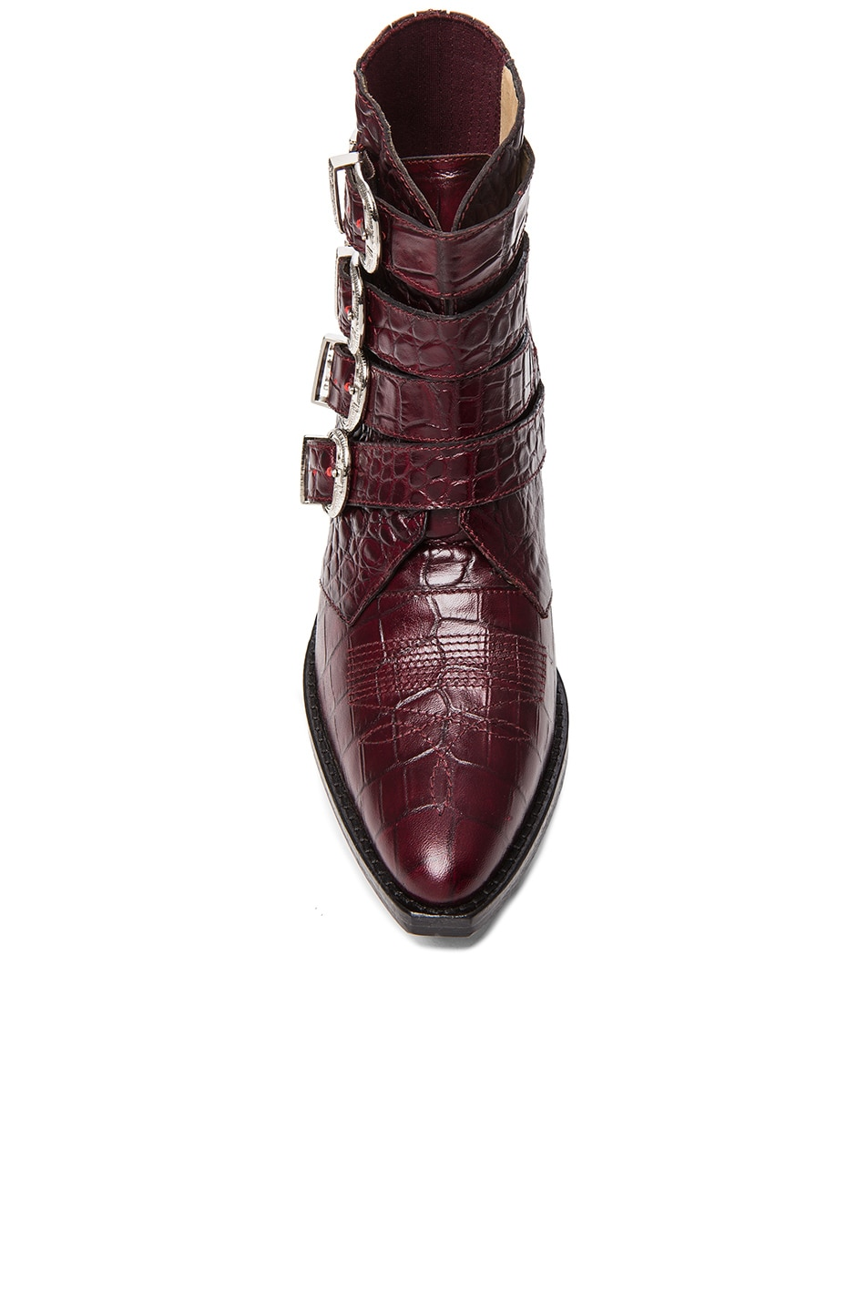 Image 4 of TOGA PULLA Embossed Leather Buckle Booties in Bordeaux