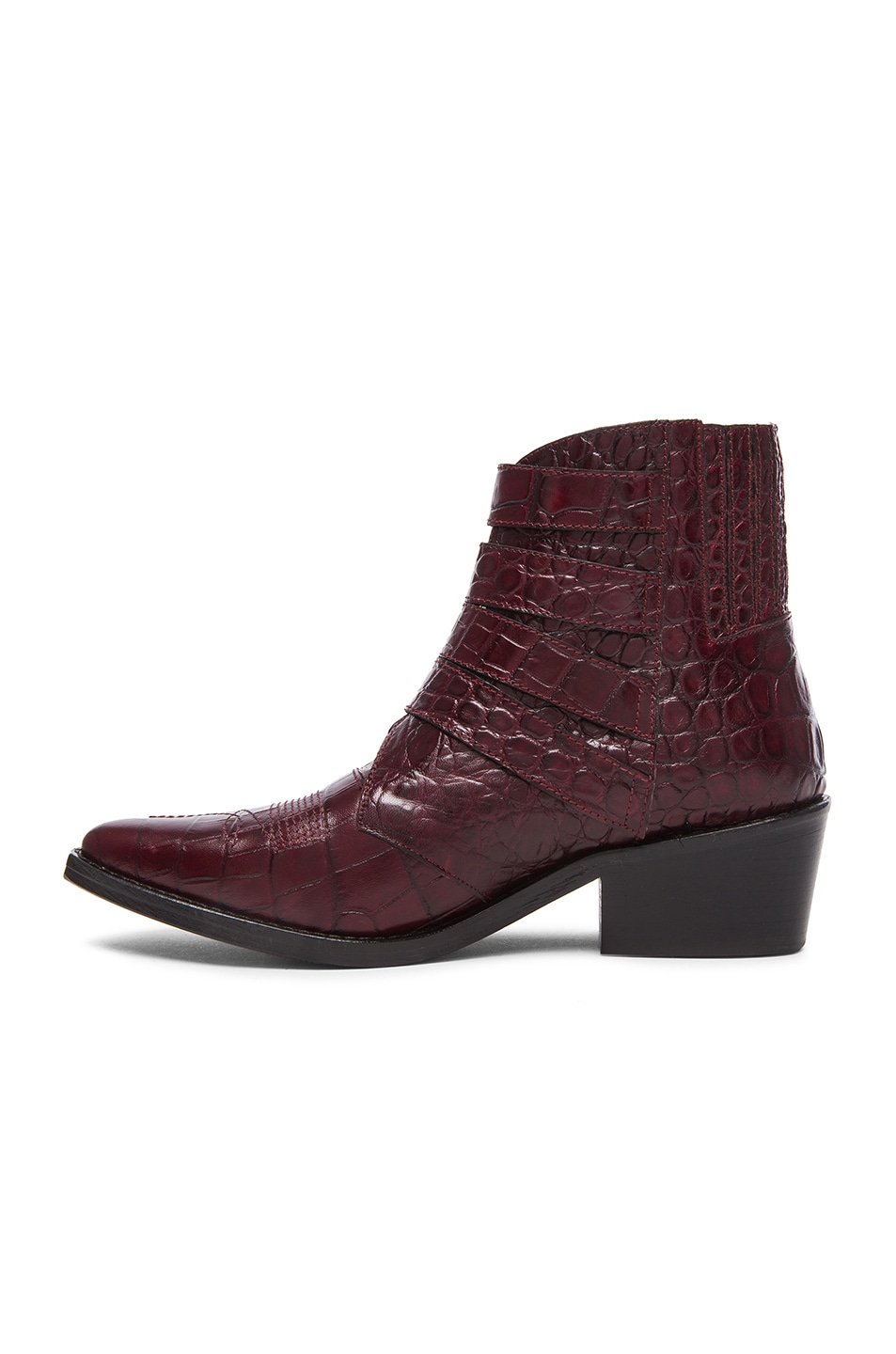 Image 5 of TOGA PULLA Embossed Leather Buckle Booties in Bordeaux