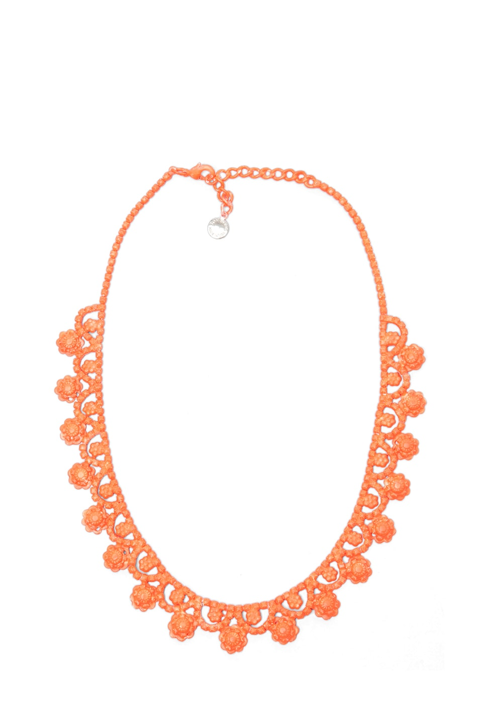 Image 1 of Tom Binns Neo Neon Hand Painted Rhodium Necklace in Orange