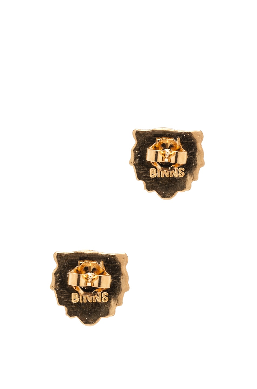 Image 3 of Tom Binns Lion Plated Earrings in Gold