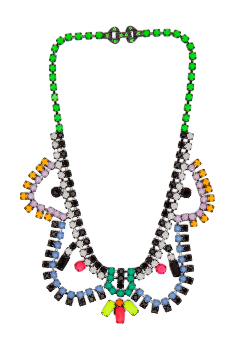 Image 1 of Tom Binns Dot Dash Rhodium & Brass Necklace in Black Multi