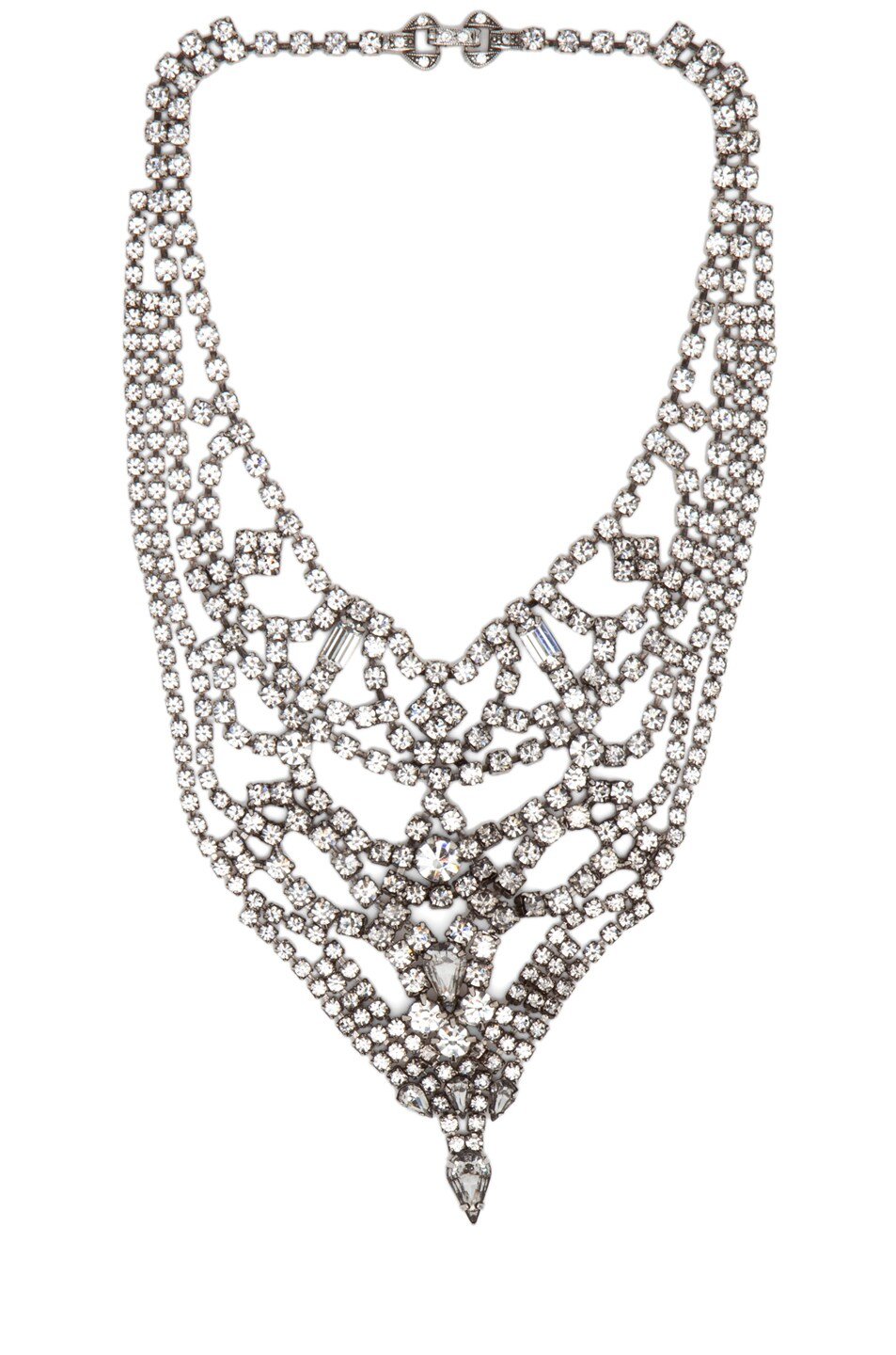 Image 1 of Tom Binns Triangle Crystal Rhodium Necklace in White