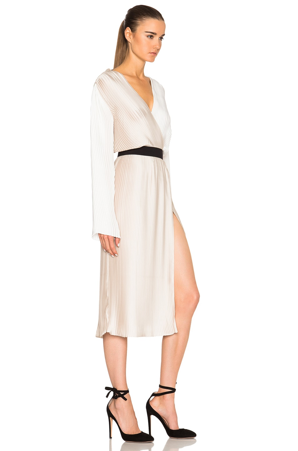 Image 4 of Tome Pleated Wrap Dress in Bone