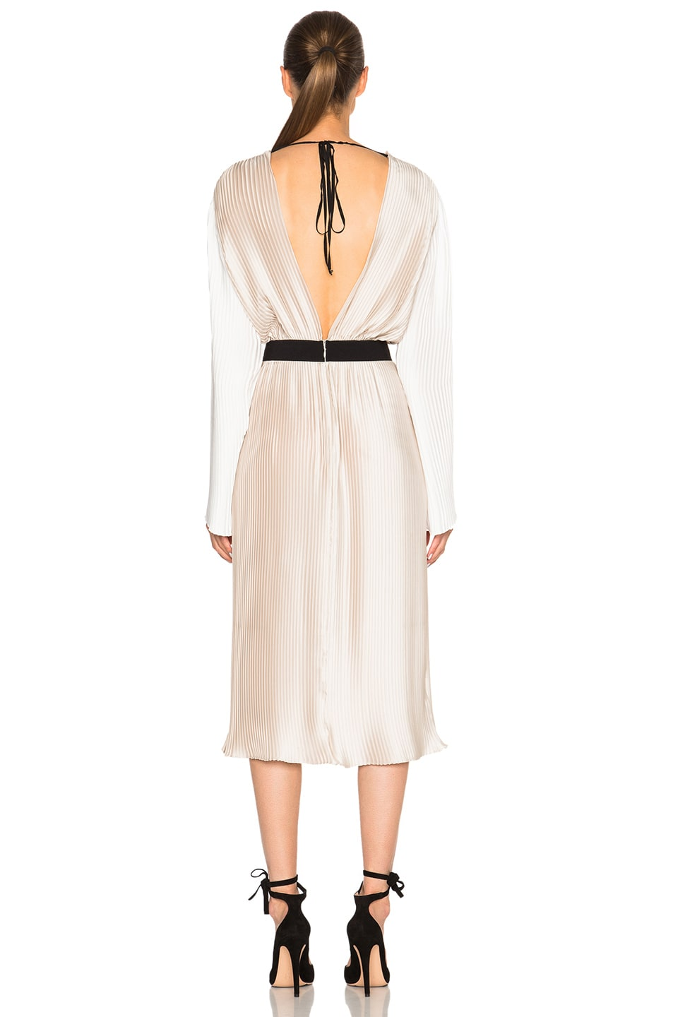 Image 5 of Tome Pleated Wrap Dress in Bone