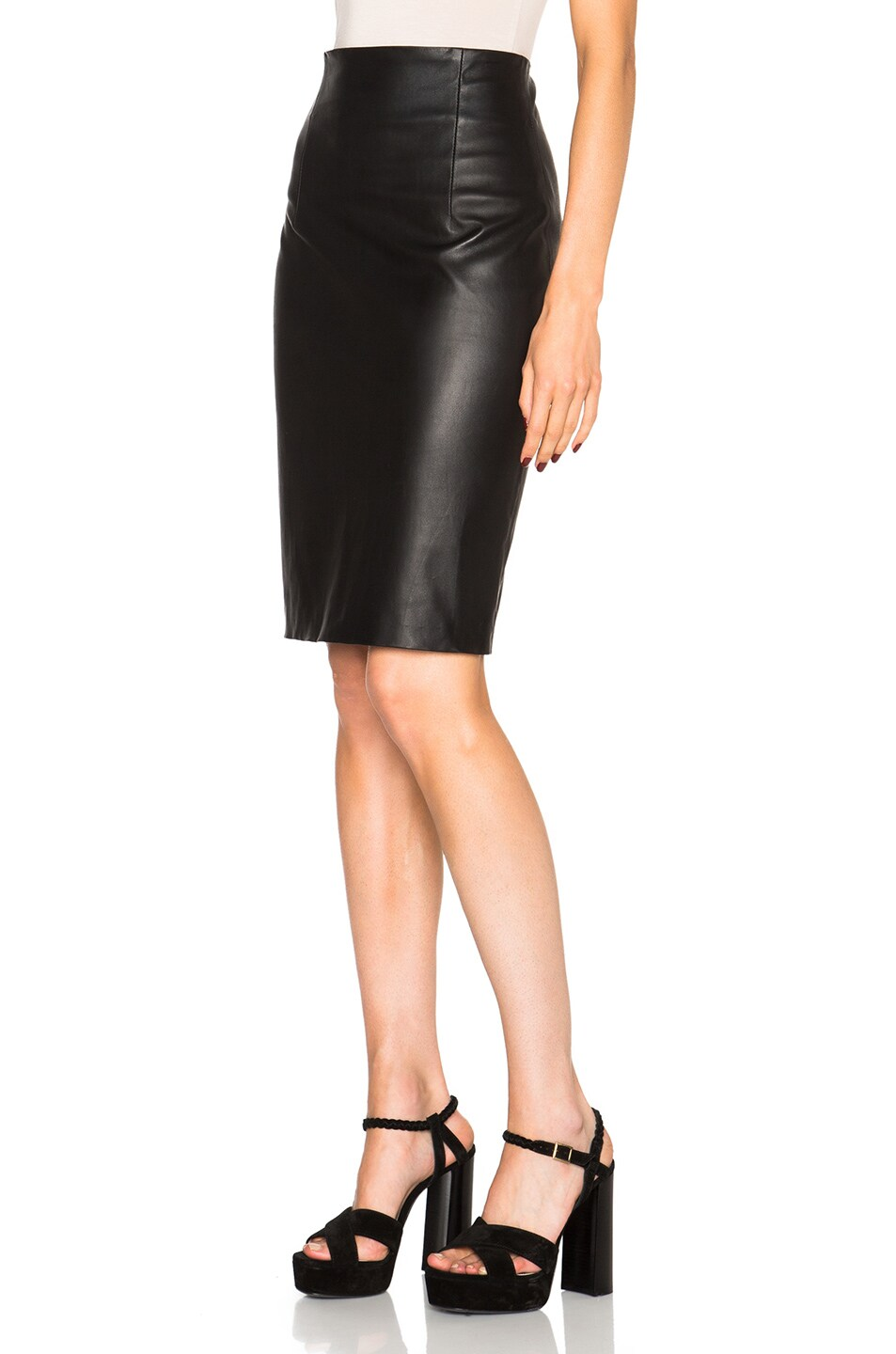 theperfext amsterdam high waisted leather skirt in black