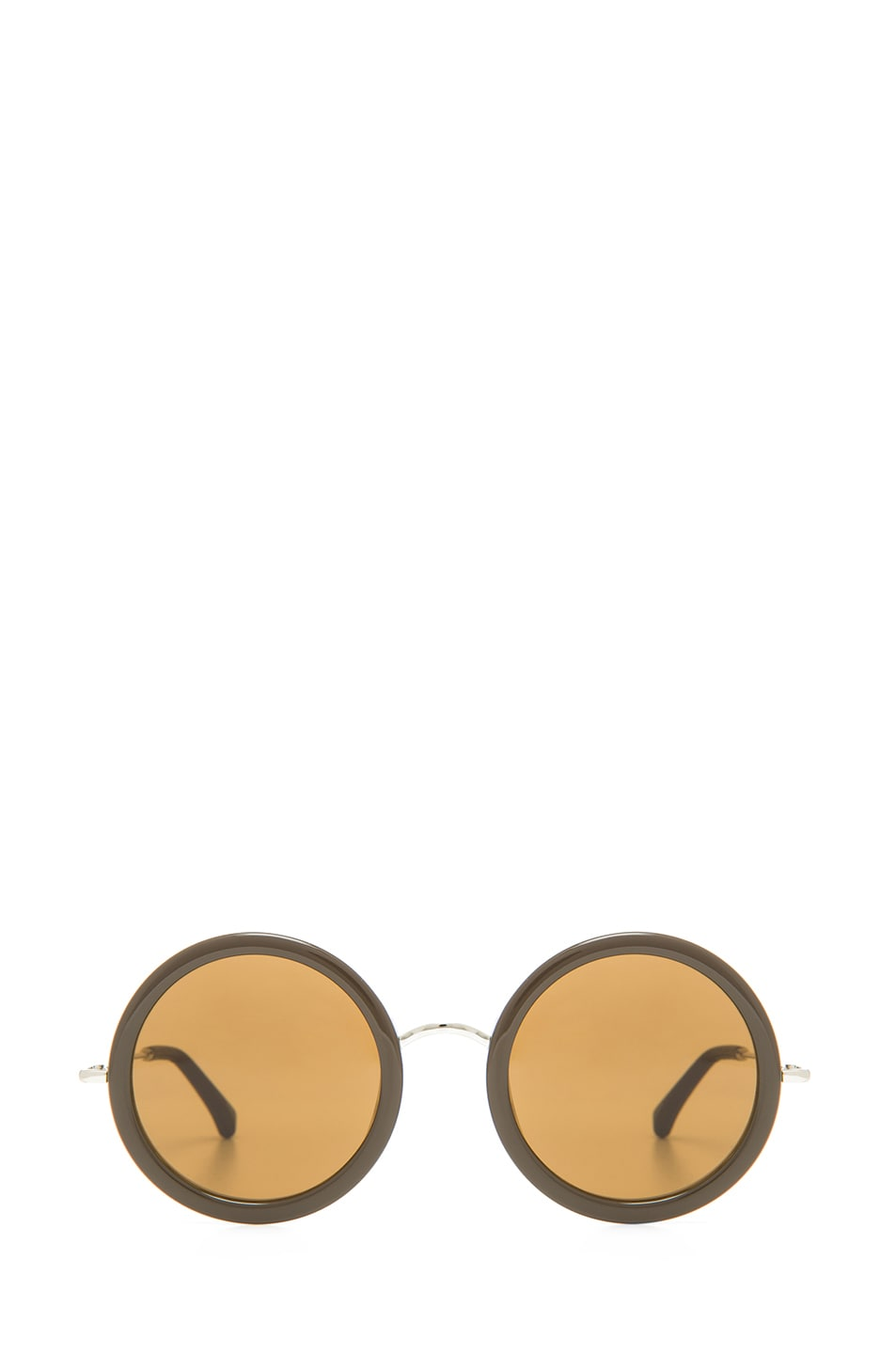 Image 1 of The Row Signature Round Sunglasses in Iron & Blush