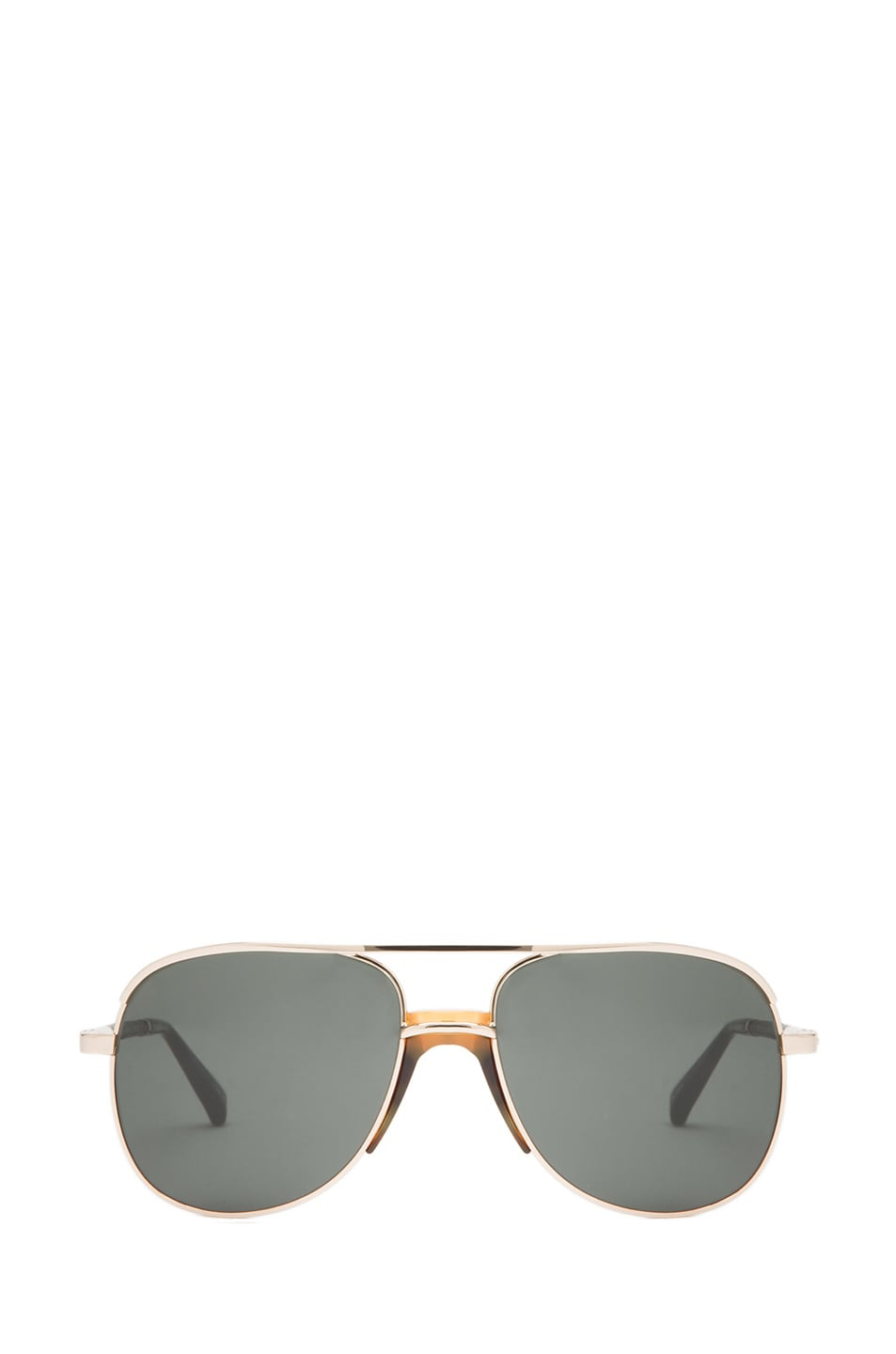 Image 1 of The Row Rounded Aviator Sunglasses in Gold & Black
