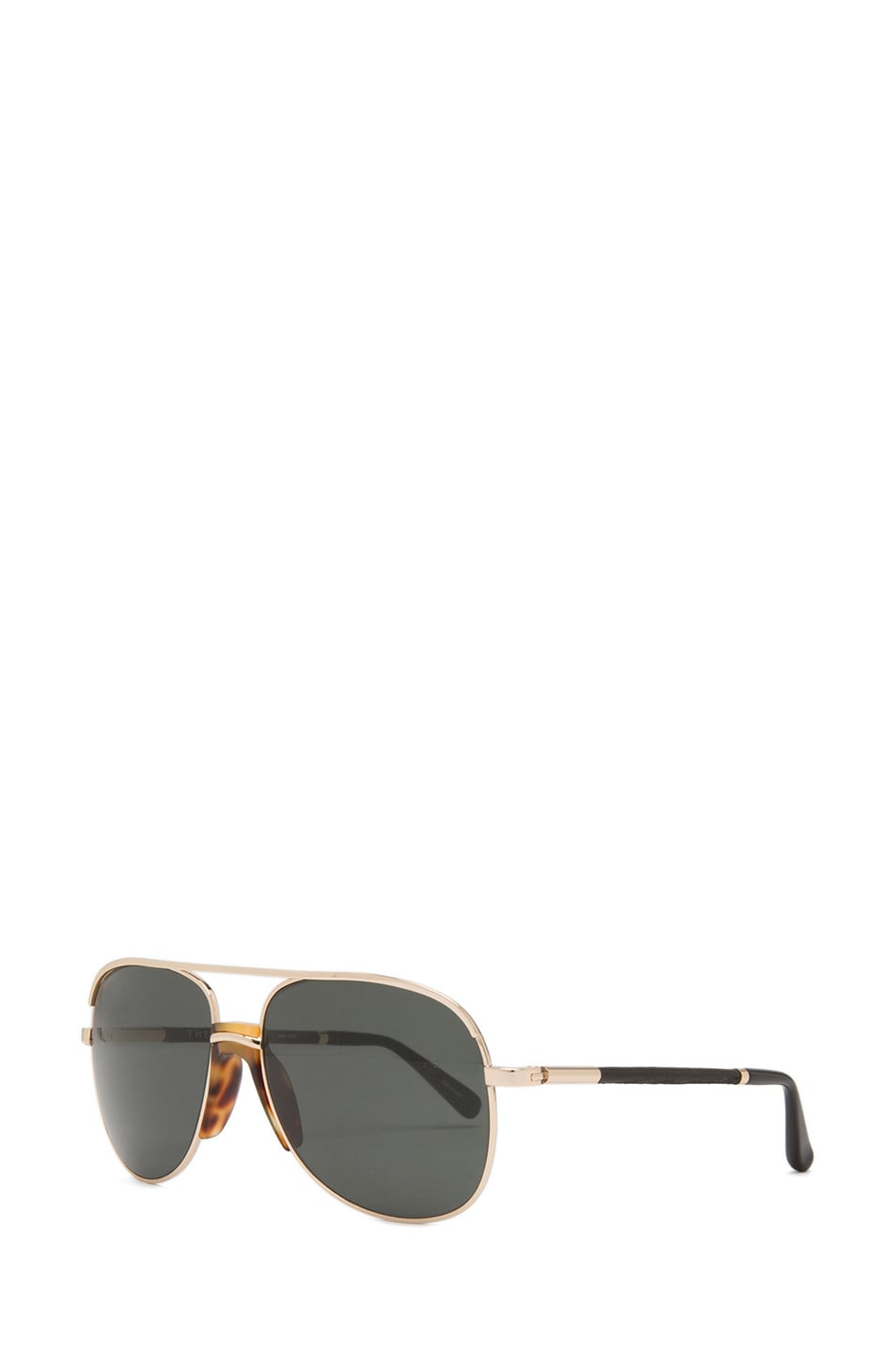Image 2 of The Row Rounded Aviator Sunglasses in Gold & Black
