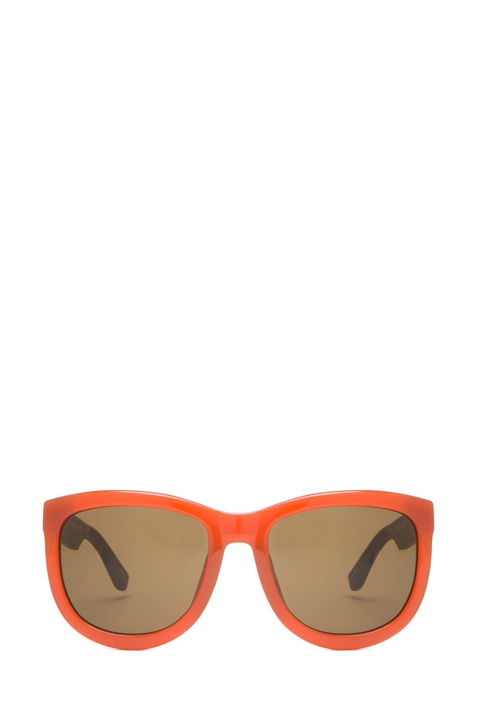 Image 1 of The Row Rounded Wayfarer Sunglasses in Rust & Walnut