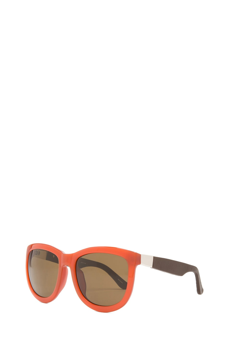 Image 2 of The Row Rounded Wayfarer Sunglasses in Rust & Walnut