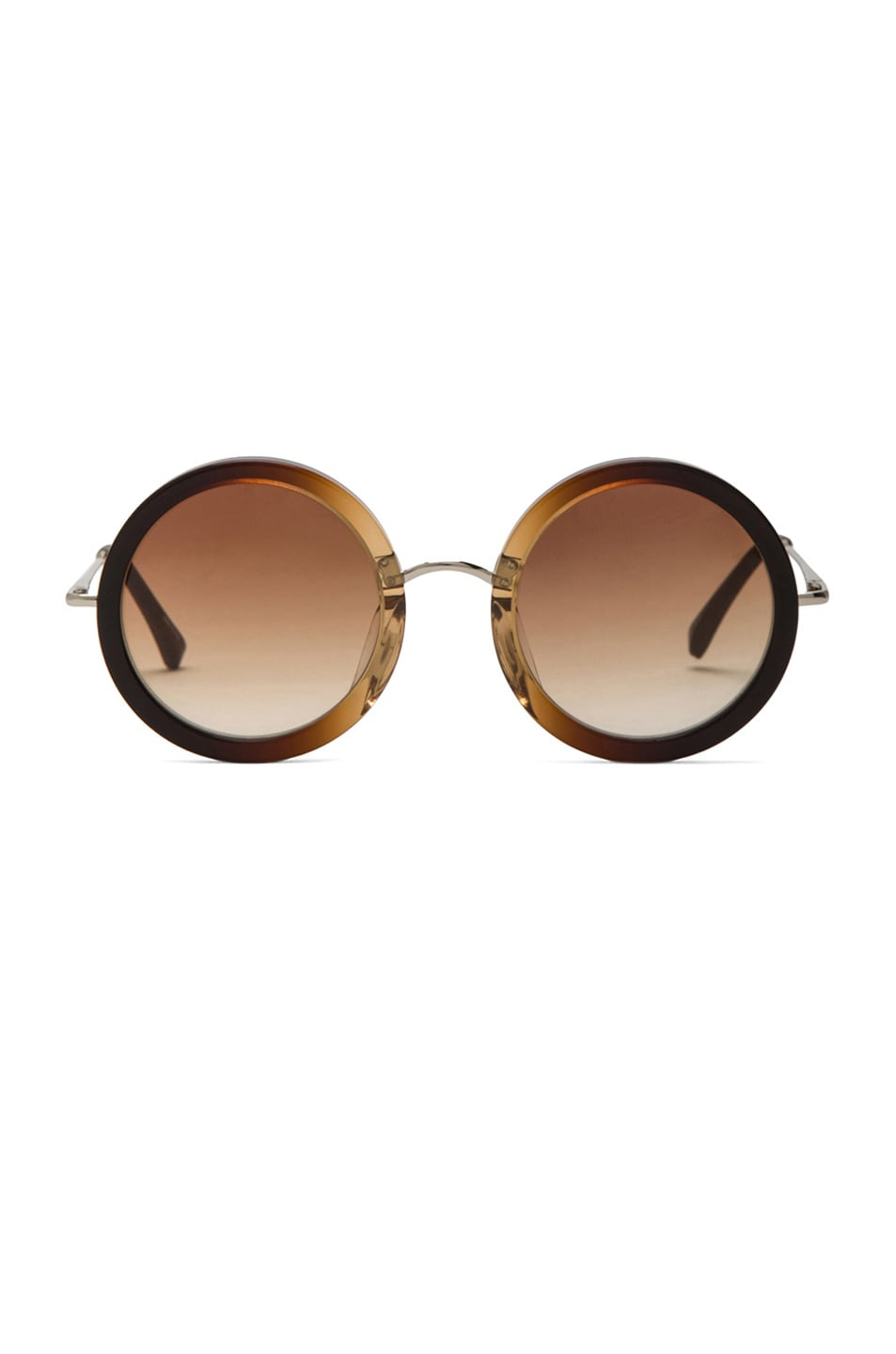 Image 1 of The Row Signature Circle Sunglasses in Molasses Gradient