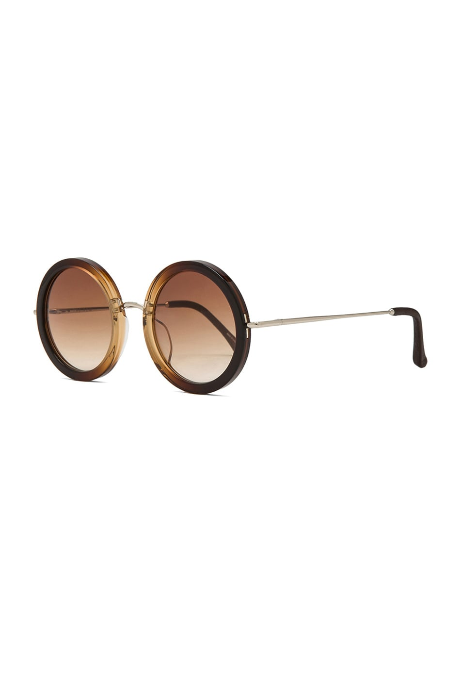 Image 2 of The Row Signature Circle Sunglasses in Molasses Gradient