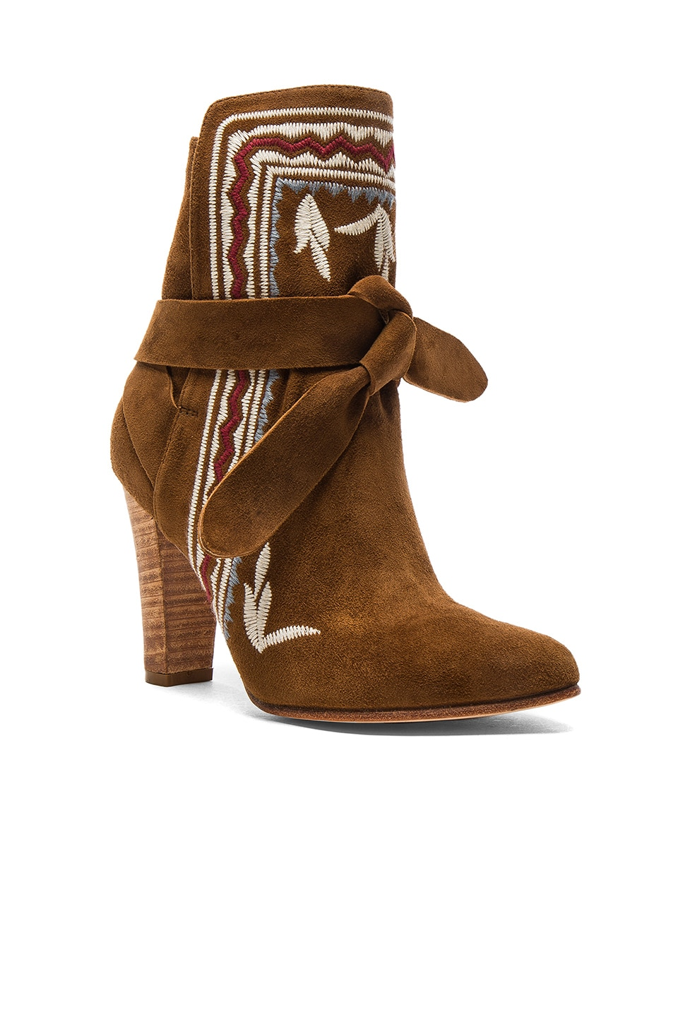 Image 2 of Ulla Johnson Embroidered Suede Aggie Booties in Saddle Suede