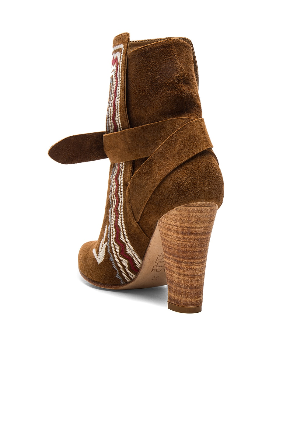 Image 3 of Ulla Johnson Embroidered Suede Aggie Booties in Saddle Suede