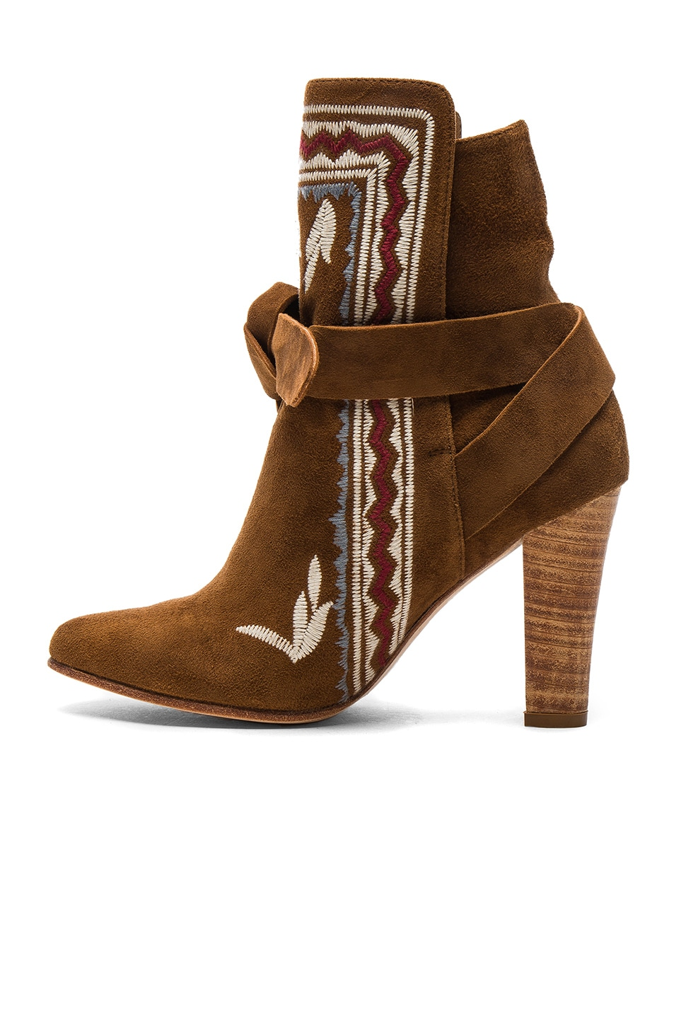 Image 5 of Ulla Johnson Embroidered Suede Aggie Booties in Saddle Suede