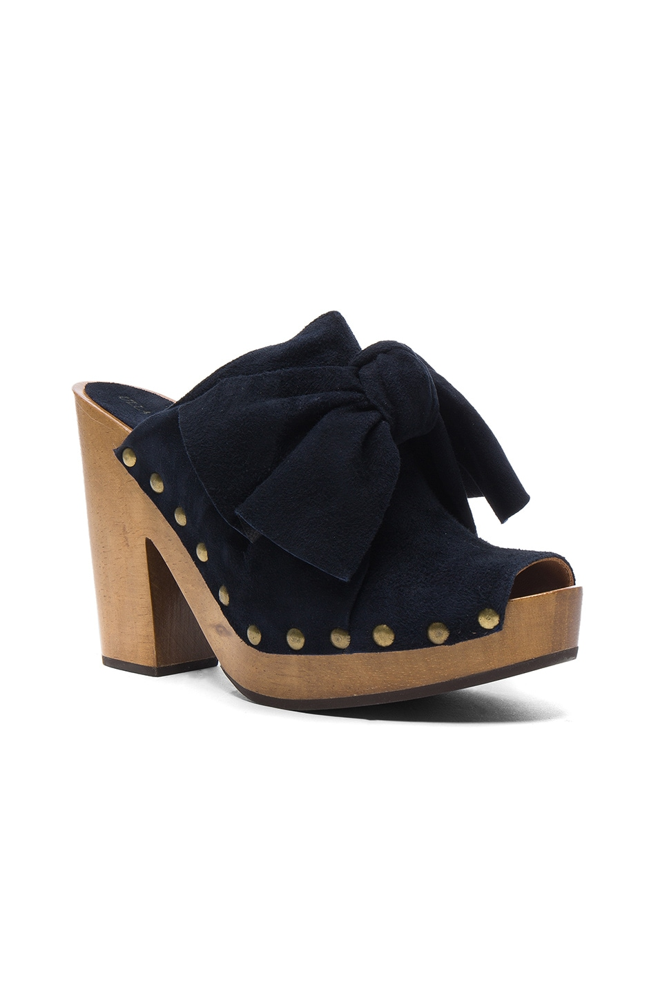 Image 2 of Ulla Johnson Suede Stevie Clogs in Midnight Suede