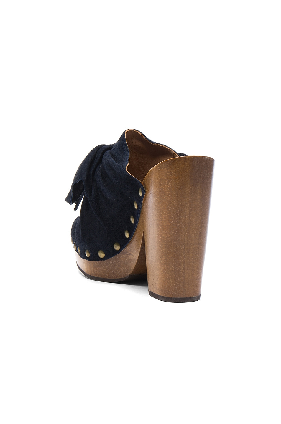 Image 3 of Ulla Johnson Suede Stevie Clogs in Midnight Suede