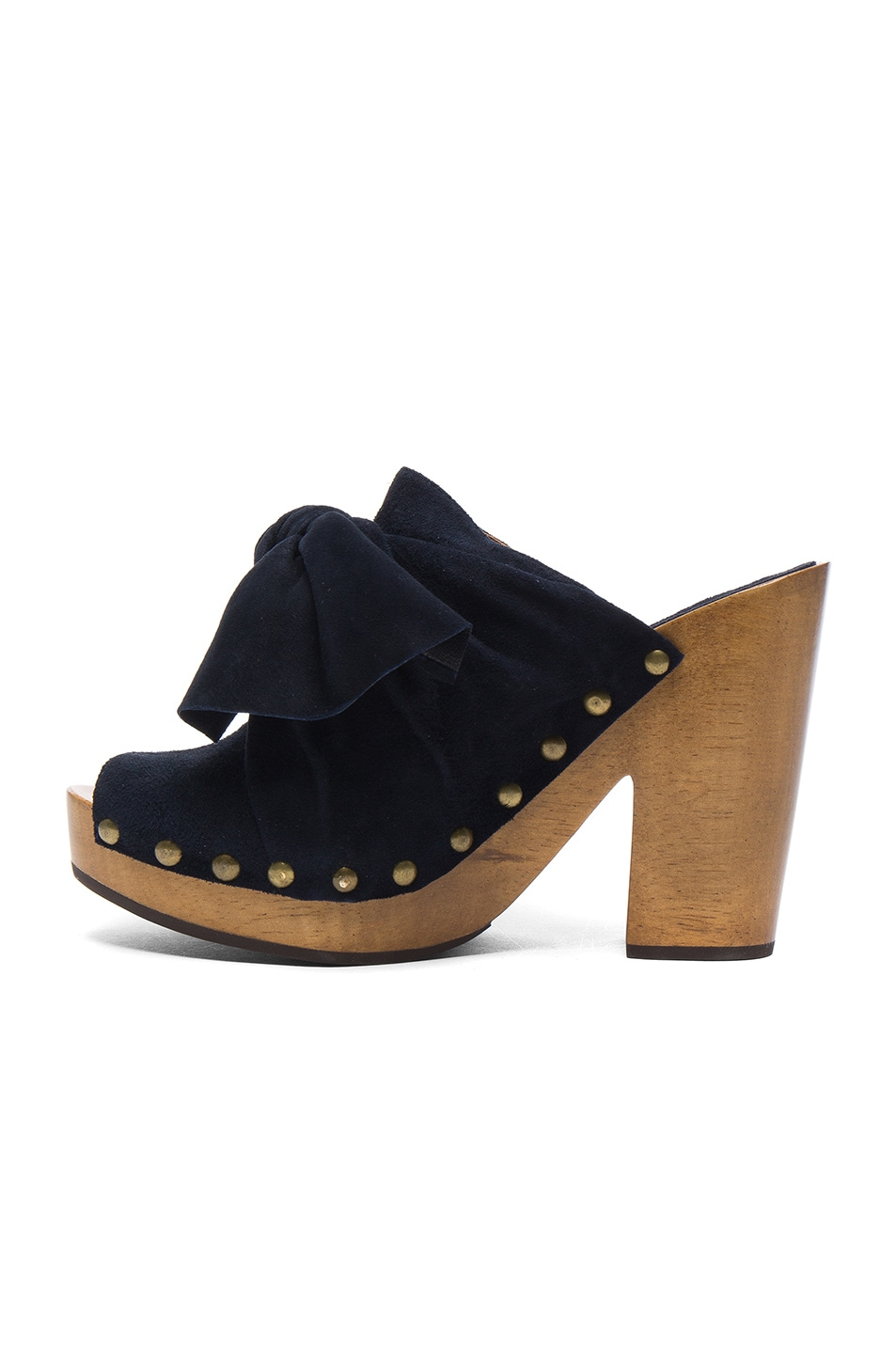 Image 5 of Ulla Johnson Suede Stevie Clogs in Midnight Suede
