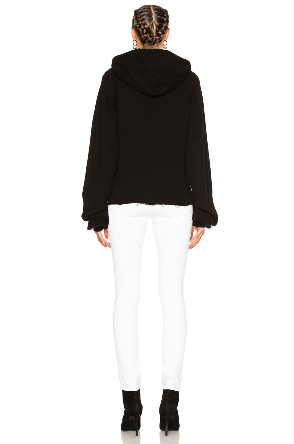 Image 5 of Unravel for FWRD Oversize Sleeve Cashmere Hoodie in Black