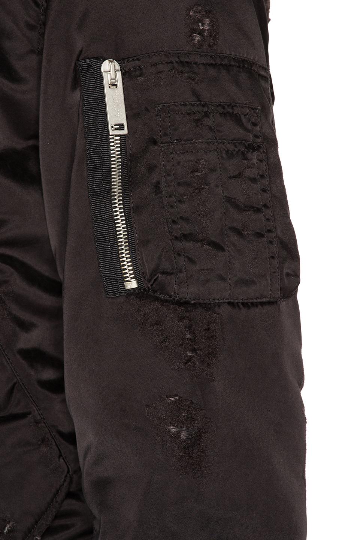 Image 6 of Unravel Nylon Oversized Bomber in Black