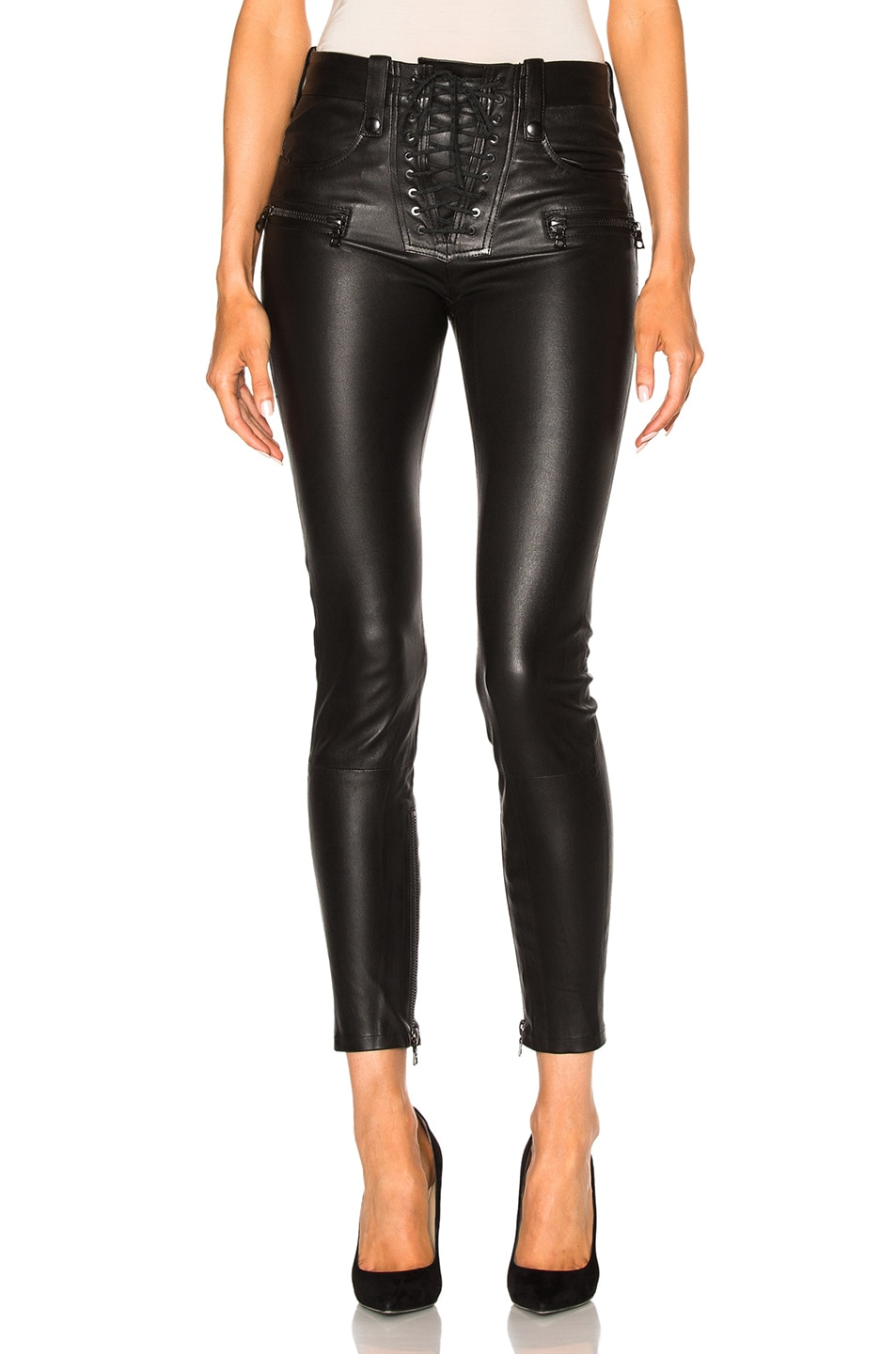 Image 1 of Unravel Leather Lace Up Skinny Pants in Black