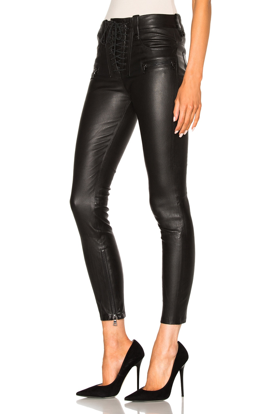 Image 2 of Unravel Leather Lace Up Skinny Pants in Black