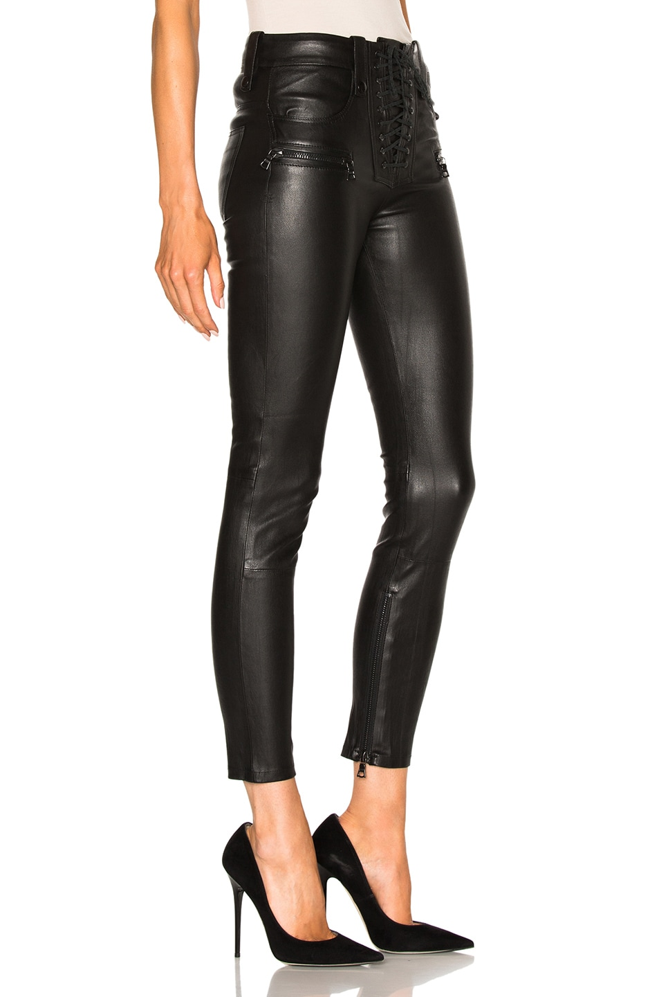 Image 3 of Unravel Leather Lace Up Skinny Pants in Black