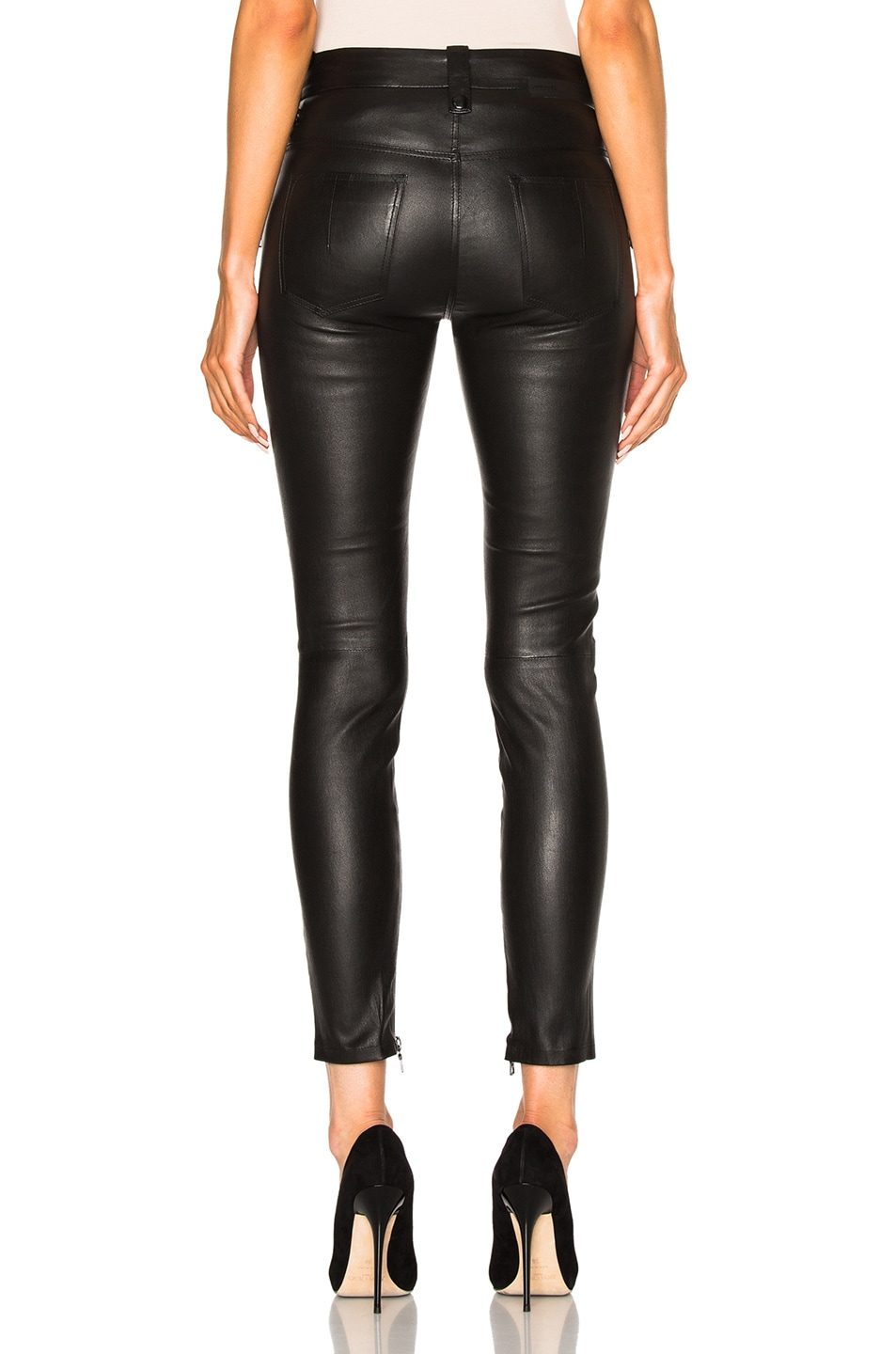 Image 4 of Unravel Leather Lace Up Skinny Pants in Black
