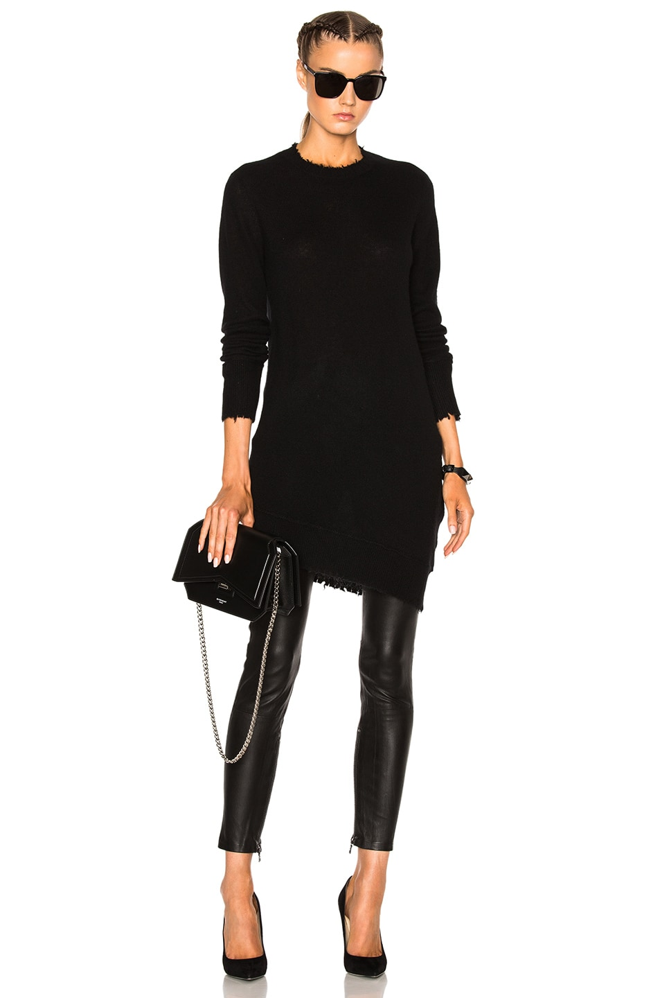 Image 5 of Unravel Leather Lace Up Skinny Pants in Black