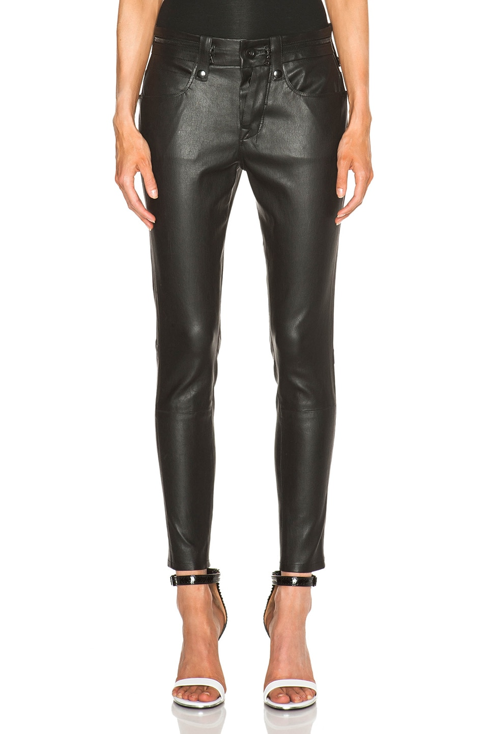 Image 1 of Unravel Slouchy Skinny Lambskin Leather Pants in Black