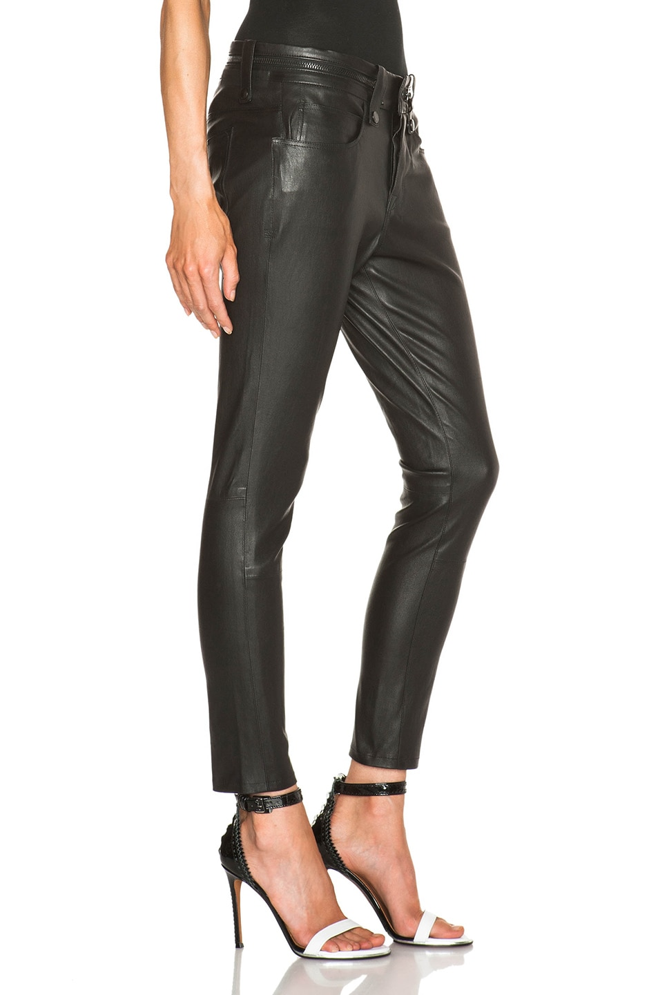 Image 3 of Unravel Slouchy Skinny Lambskin Leather Pants in Black