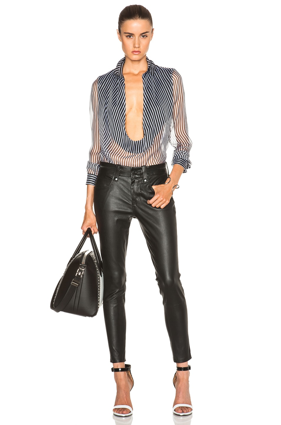 Image 5 of Unravel Slouchy Skinny Lambskin Leather Pants in Black