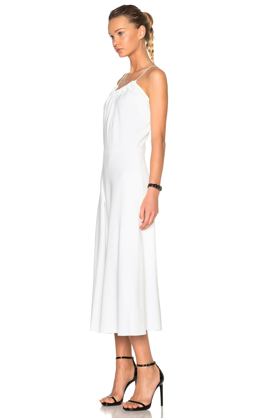 Image 2 of Victoria Beckham Ruched Cami Flared Dress in White