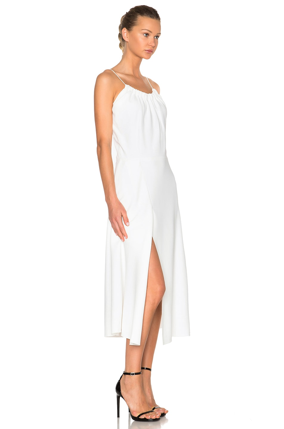 Image 3 of Victoria Beckham Ruched Cami Flared Dress in White