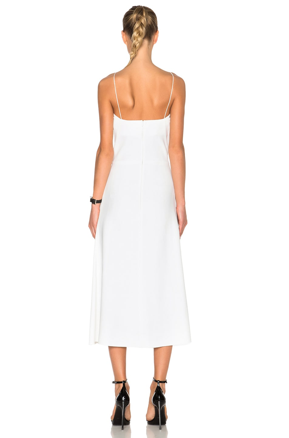 Image 4 of Victoria Beckham Ruched Cami Flared Dress in White