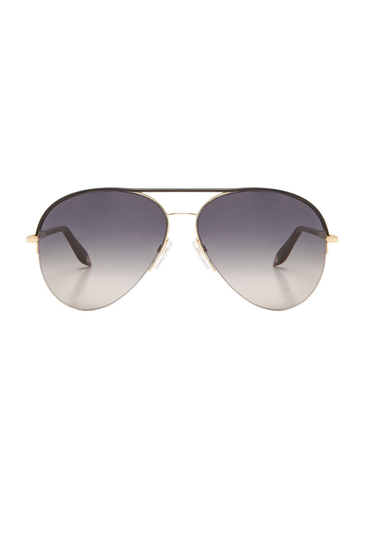 Image 1 of Victoria Beckham Palomino Aviator Sunglasses in Black & Gold