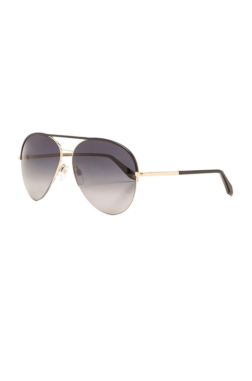 Image 2 of Victoria Beckham Palomino Aviator Sunglasses in Black & Gold