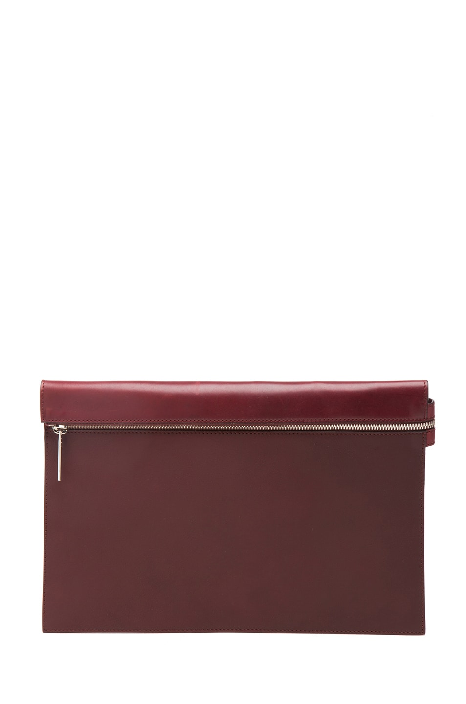 Image 1 of Victoria Beckham Large Zip Pouch in Oxblood