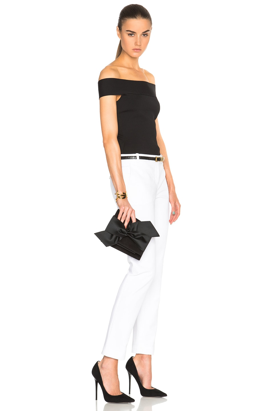 Image 2 of Victoria Beckham Mini Bow Clutch in Black