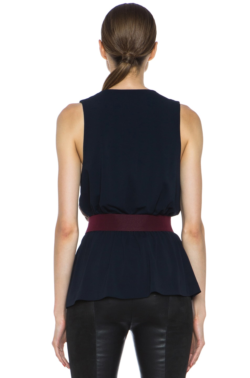 Image 4 of Victoria Beckham Denim Acrylic-Blend V Tank in Navy & Mushroom