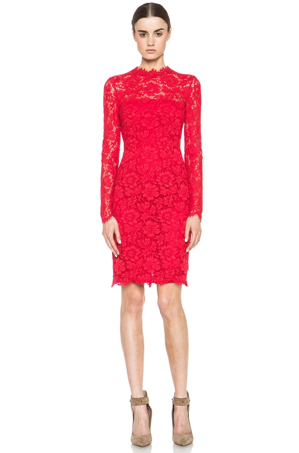 Image 1 of Valentino Tubino Lace Knit Dress in Red