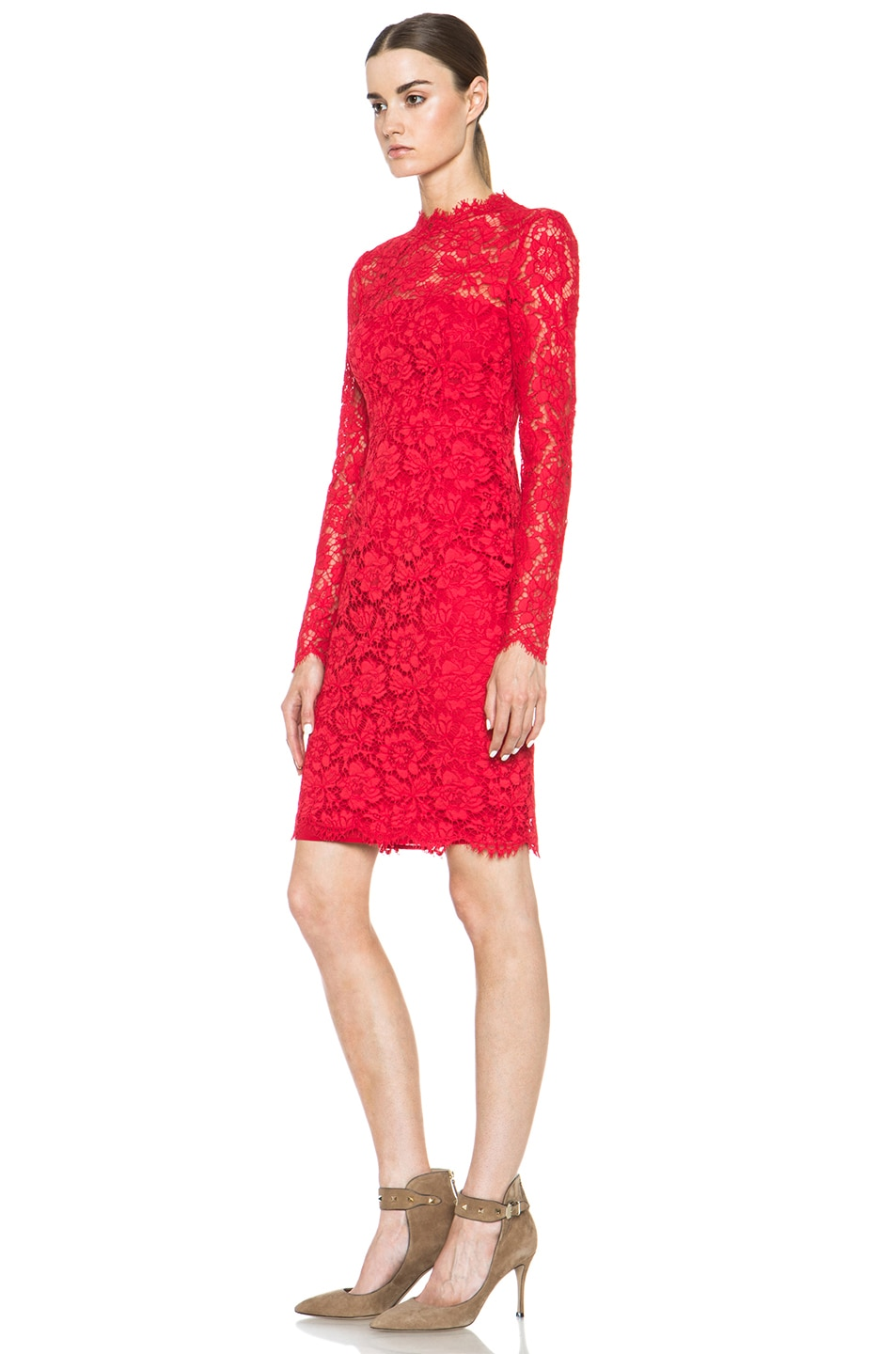 Image 2 of Valentino Tubino Lace Knit Dress in Red