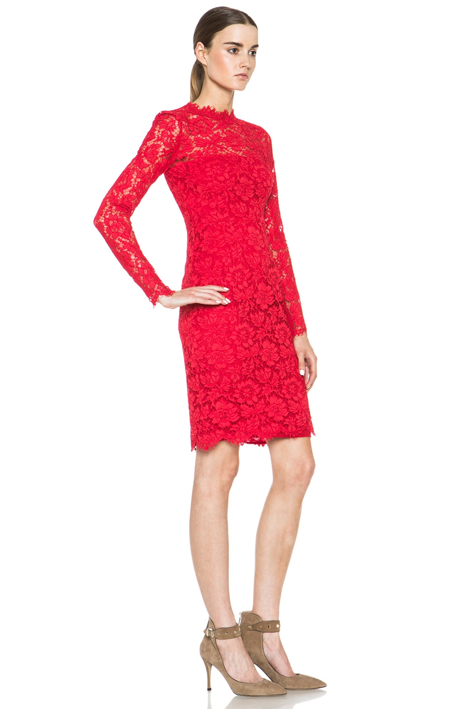 Image 3 of Valentino Tubino Lace Knit Dress in Red