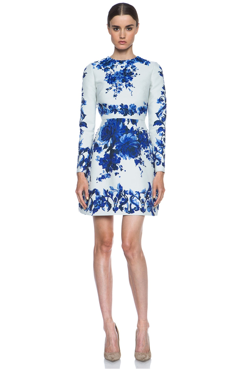 Image 1 of Valentino Flare Skirt Silk-Blend Dress in Blue Multi