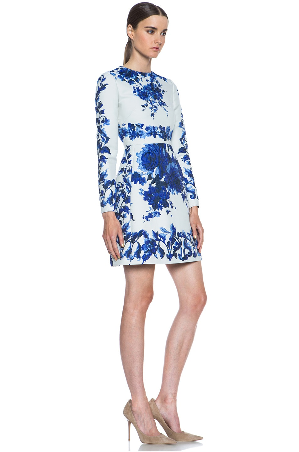 Image 3 of Valentino Flare Skirt Silk-Blend Dress in Blue Multi