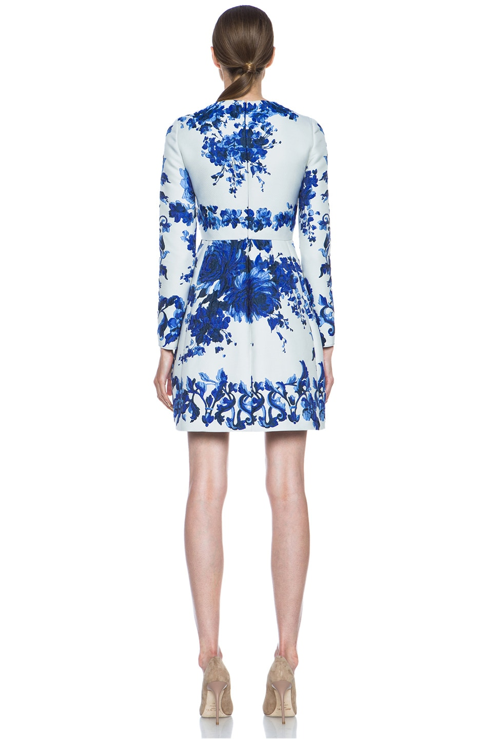 Image 4 of Valentino Flare Skirt Silk-Blend Dress in Blue Multi