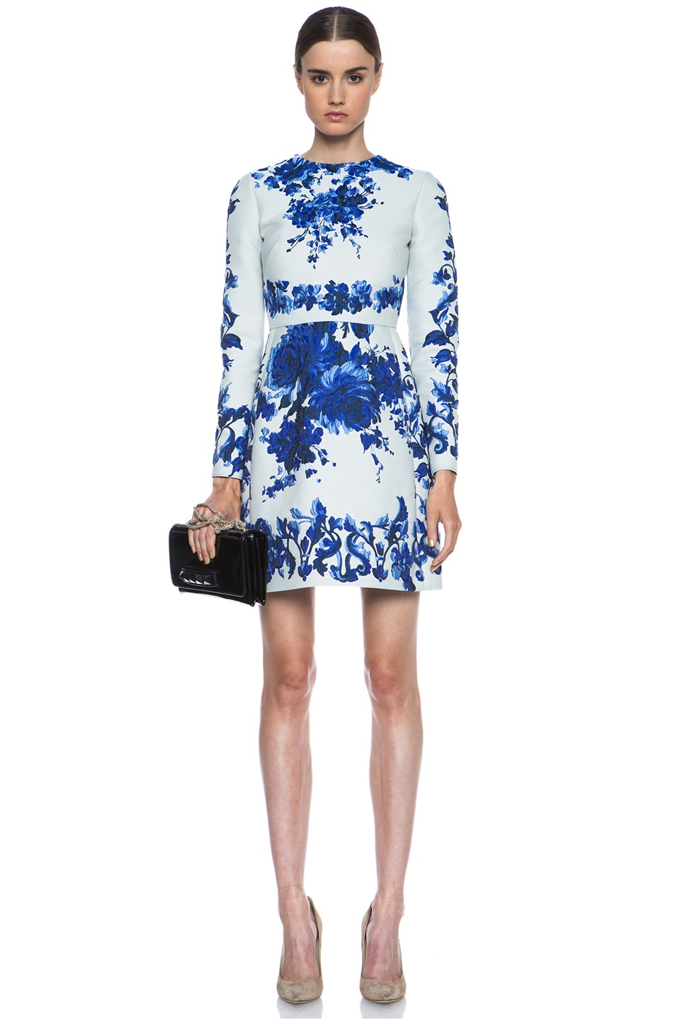Image 5 of Valentino Flare Skirt Silk-Blend Dress in Blue Multi