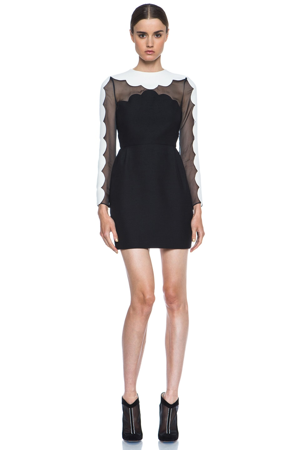Image 1 of Valentino Scallop Edge Tulip Wool-Blend Dress in Black & White