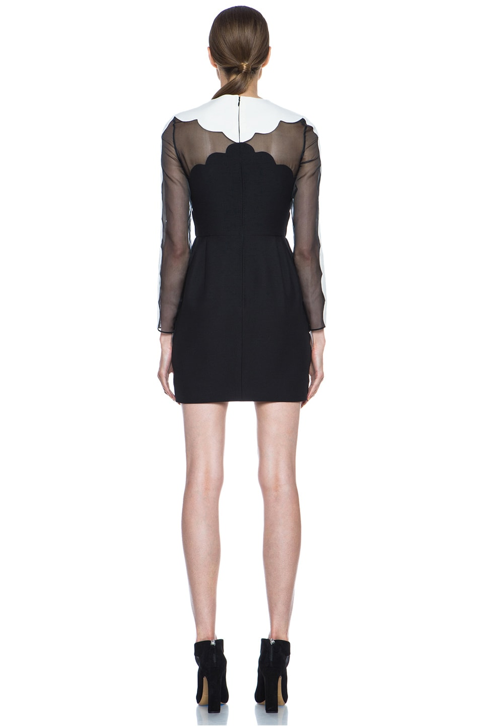 Image 4 of Valentino Scallop Edge Tulip Wool-Blend Dress in Black & White